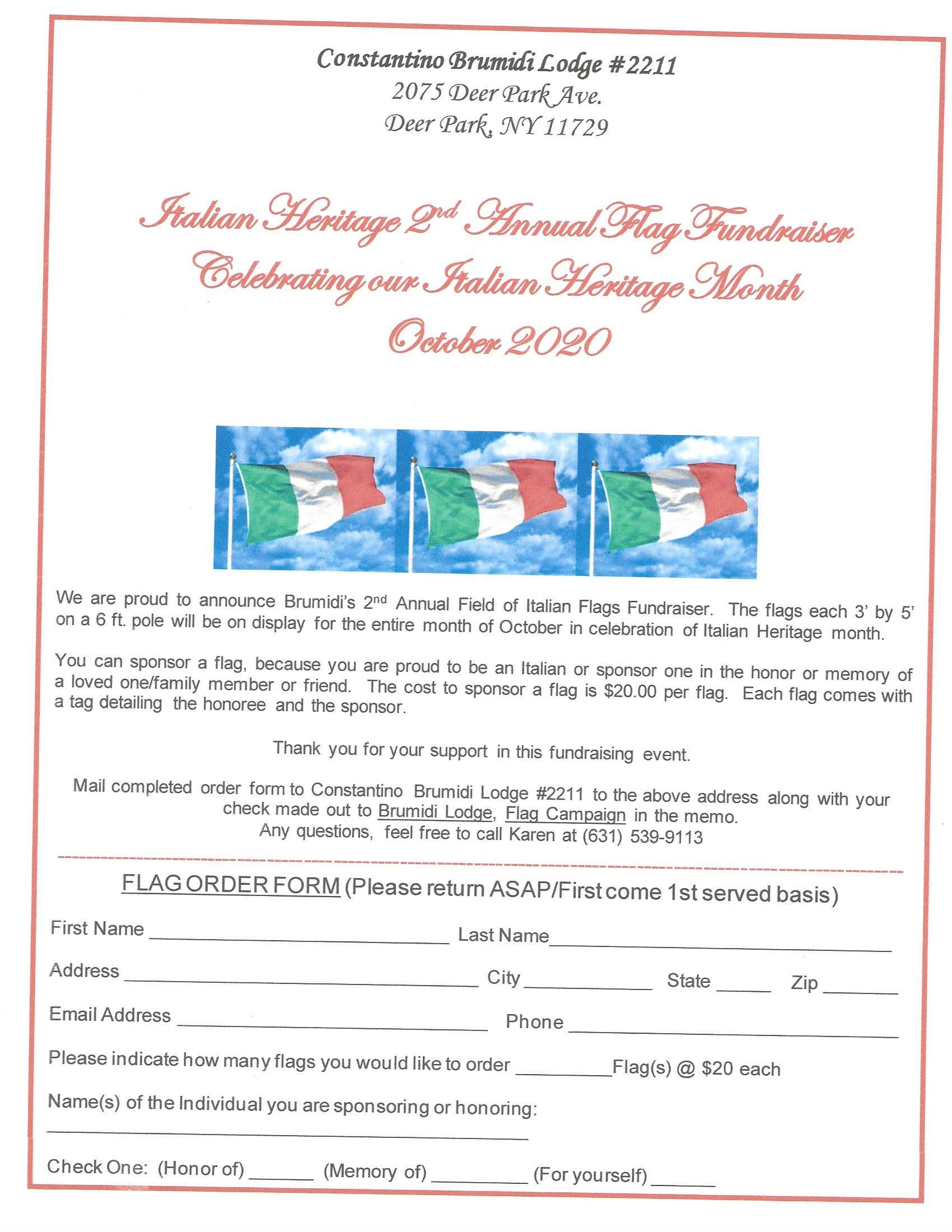 Italian Heritage flag fundraiser