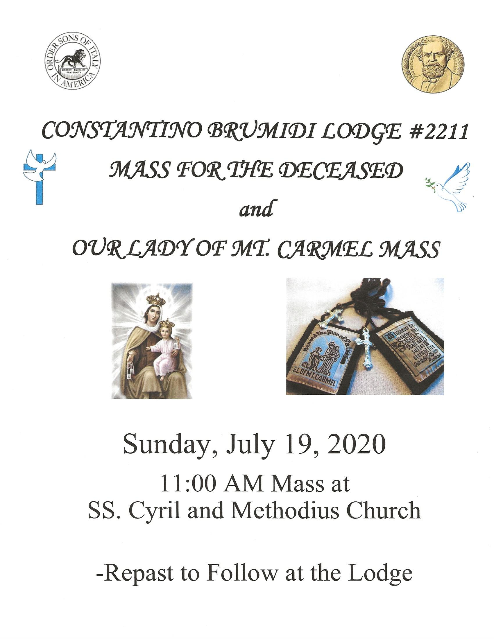 Mass for the Deceased flyer 2020