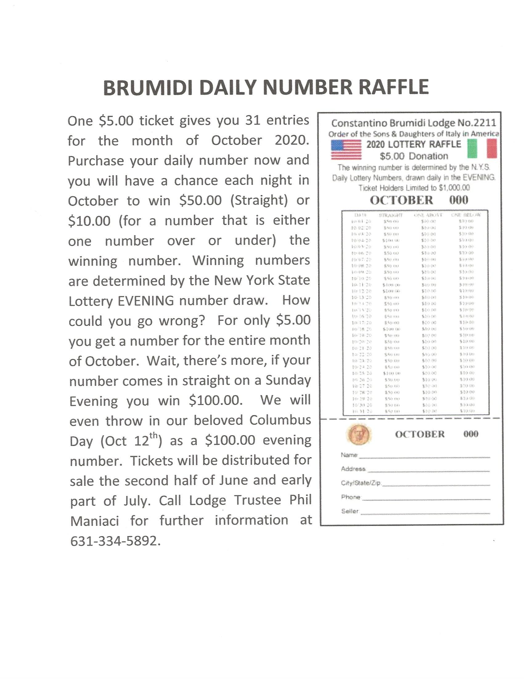 Daily Number Raffle Oct
