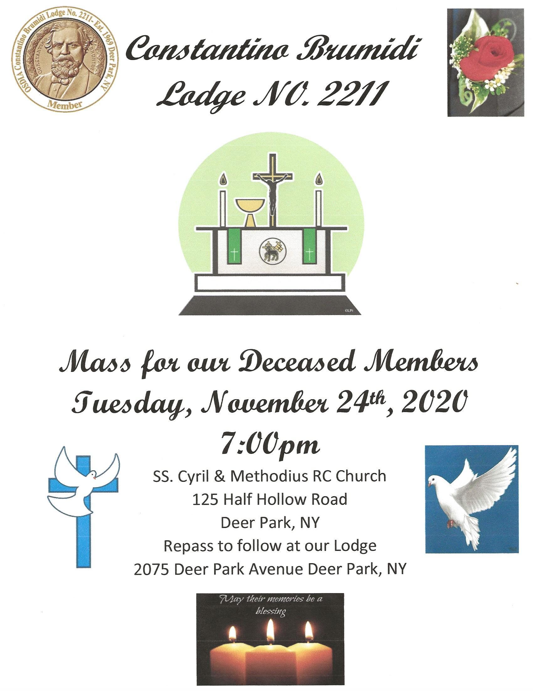 Mass for Deceased flyer 2020