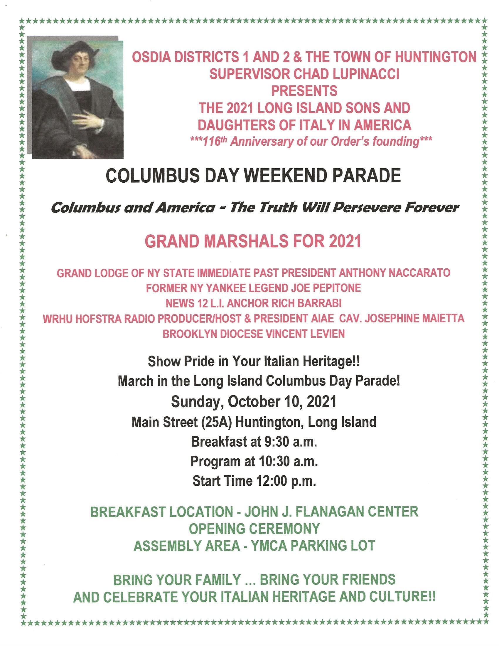 Columbus Parade flyer 2021